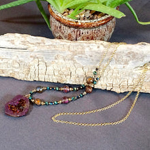 Burgandy Druzy Drop Continuous Gold Tone Necklace