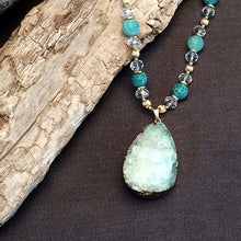 Green Druzy Hand Crafted Necklace