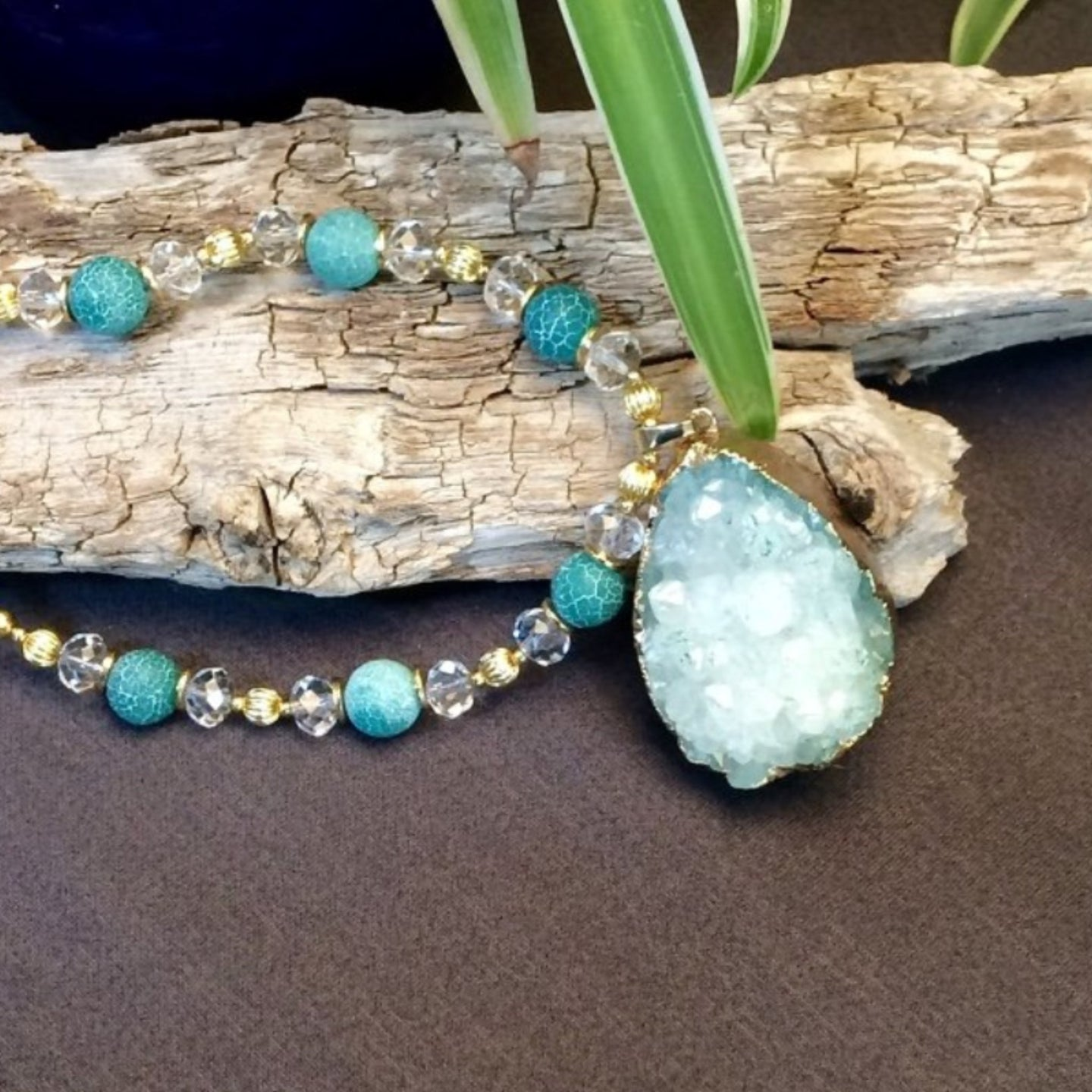 Green Druzy Gold Tone Continuous Necklace