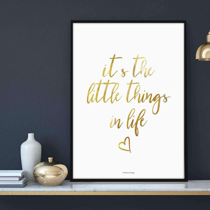Little Things Gold 30x40cm Dijital Baskı Poster Çerçeveli Mimisha