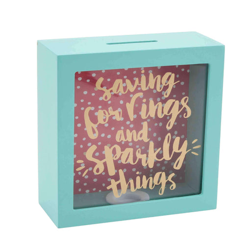 Saving For Rings And Sparkly Things - Ahşap Para Kutusu Bonvagon