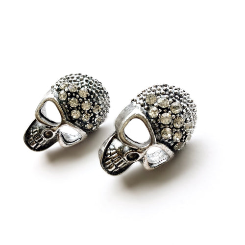 Skull & Rhinestones Stud Earrings