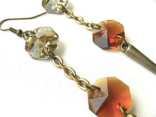 Long Champagne & Amber Spike Dangle Earrings