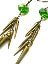 Lime Glass Crystal and Brass Spike Earrings. FAST Shipping w/Tracking for US Buyers. Gift Box & Cute Ribbon Incl. Ready for Gift Giving.