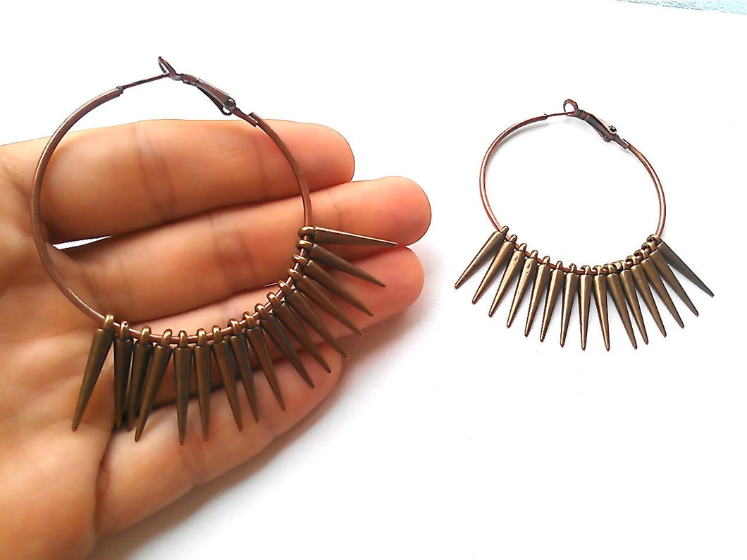 Rebellious One Spiked Hoop Earrings. FAST Shipping with Tracking for US Buyers. Gift Box Included in Purchase.