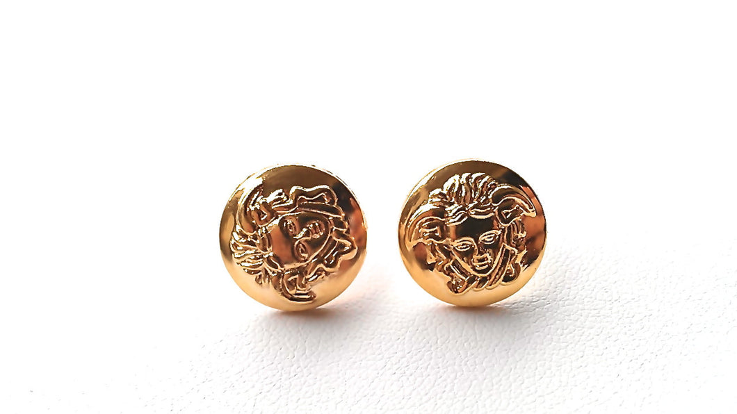 DAPHNE Grecian Medusa Studs. Shiny Gold Tones. Will arrive in Gift Box w/Ribbon. Fast shipping from USA with Tracking for US Buyers.