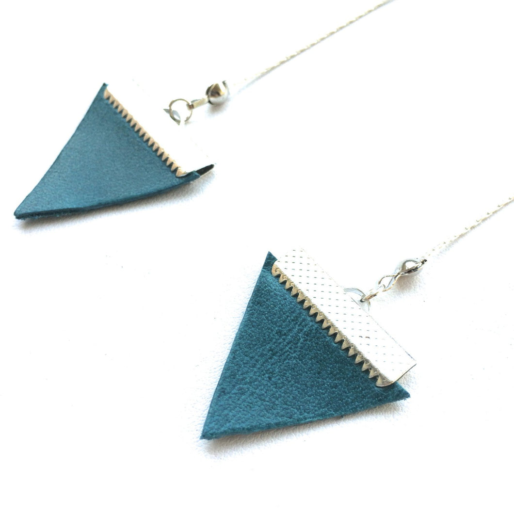 Lex Leather Triangle Earrings