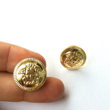 Golden Medusa Stud Earrings. FAST Shipping with Tracking if you are in the US. Wrapped in Gift Box w/Ribbon Included.