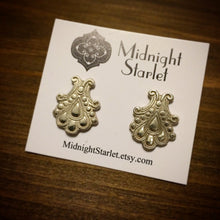 Organic Hand Sculpted Fine Silver (.999) Stud Earrings. Old Hollywood. Handmade from Scratch. Fast Shipping w/Tracking & Gift Box/Ribbon.