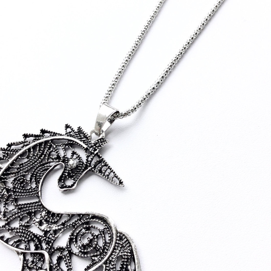 Fantasia Unicorn Necklace in Antique Silver or Antiqued Brass. Fast Shipping w/Tracking for US Buyers. Gift Box w/Ribbon Included.