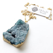 PORCELINA Deep Sea Blue Druzy Necklace. FAST Shipping w/ Tracking for US Buyers. Will Arrive to you in a Gift Box w/ Ribbon.