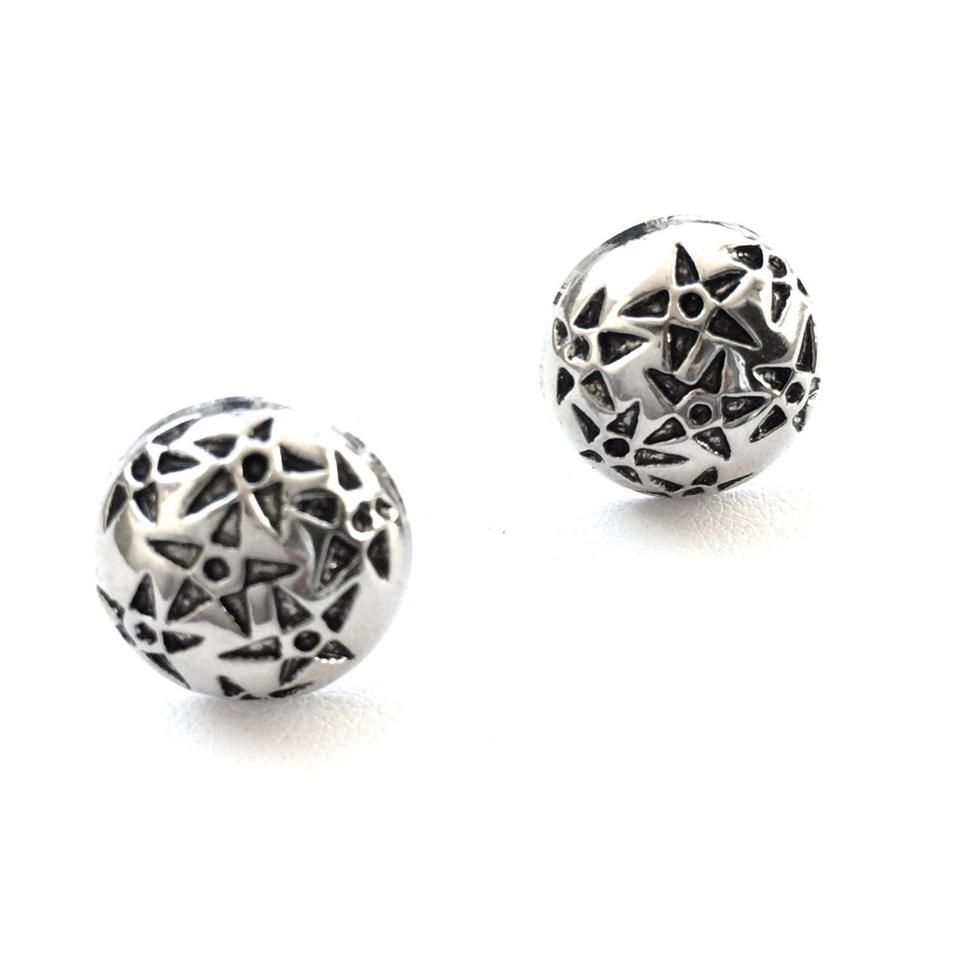 Star Bright Studs in Silver & Black. FAST Shipping with Tracking for US Buyers. Will Arrive in Gift Box and Ribbon. Ready for Gift Giving.