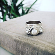 Hand Sculpted .999 Fine Silver Ring Adorned with a 5.5mm White Sapphire Stones. Size 5-1/2. FREE Worldwide Shipping.
