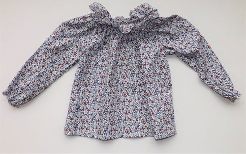 Blue Red Flowers Doris Baby Blouse