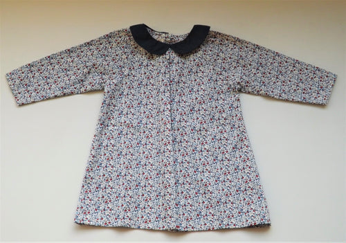 Blue Flowers  Claudine Collar Baby Dress