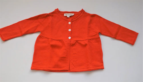 3 Buttons Woolen Orange Baby Cardigan
