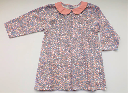 Pink Flowers Claudine Collar Baby Dress