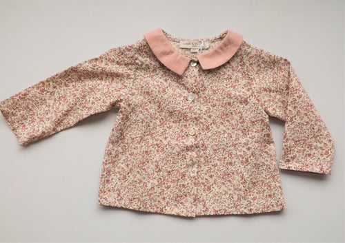 Pink Flowers Claudine Collar Blouse