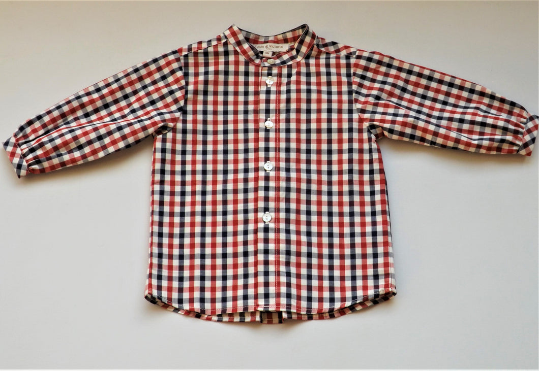 Baby Checked Red Blue Mao Collar Shirt