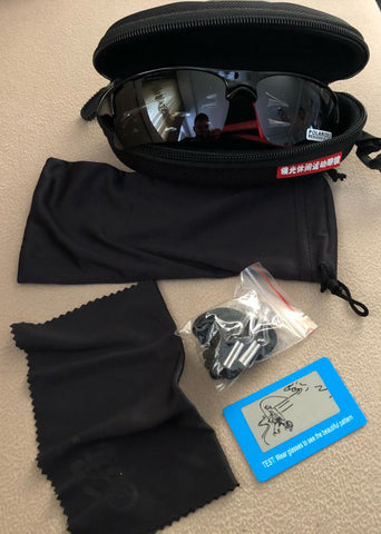 Running Sunglasses - Polarized - UV 400 - Lava Complete Package With Case