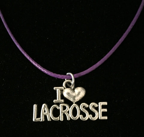 Lacrosse necklace with I love lacrosse charm