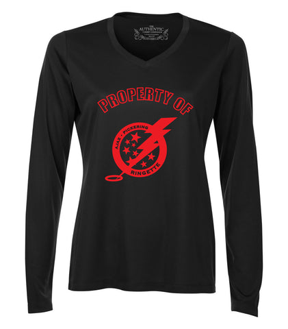A/P Ringette Long Sleeve Black Wicking T-Shirt