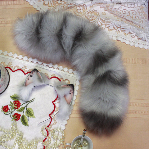 *** TAIL ONLY***MADE TO ORDER*** grey kitten