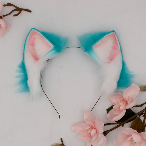 teal kitten ears with hearts