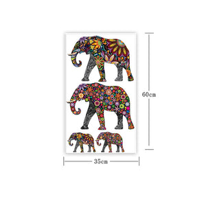 Elephant Flower pattern Wall Sticker Removable Decal Home Decor Wallpaper Ethnic Unique style PVC Living Room Decor 2016 Newest - Baby Reveal Party