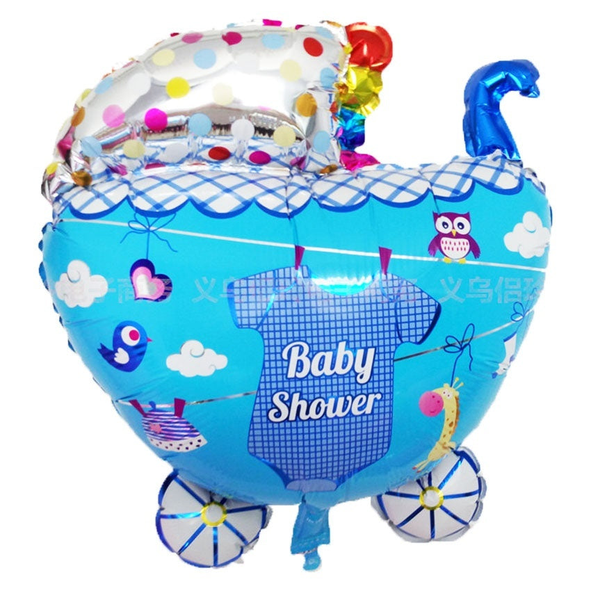 Blue Stroller Baby Shower Foil Helium Balloons Wedding Kids Birthday Decoration - Baby Reveal Party