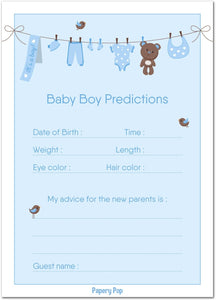 30 Baby Shower Prediction and Advice Cards - Baby Shower Activity - Baby Reveal Party