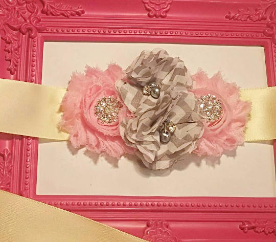 Pink Shabby Chic & Gray Pregnancy Sash - Baby Reveal Party