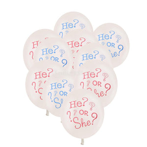 """He or She?"" Balloons (10 pcs) - Baby Reveal Party"