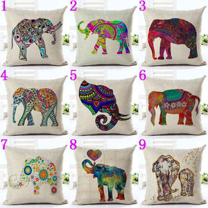 Cute Colorful India Elephant Pillowcase Pillow Cover Cotton Linen Chair Seat and Waist Square 45x45cm Cushion Cover Home Living - Baby Reveal Party