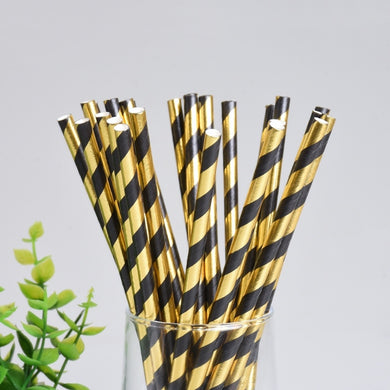 (25pcs) Gold And Black Stripe Paper Drinking Straws - Baby Reveal Party