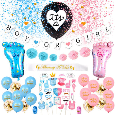 Its A Boy or Its A Girl Balloon Gender Reveal Party 36 PCS Set
