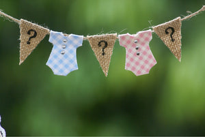 Rustic Burlap Baby Clothesline Cake Topper - Baby Reveal Party