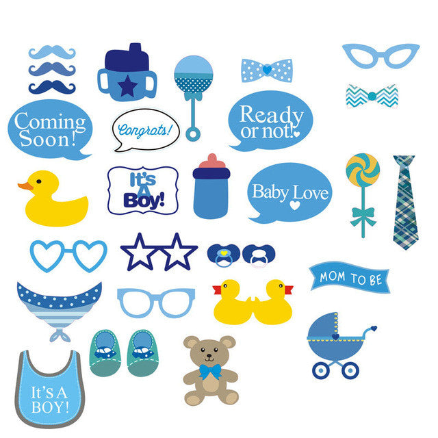 It's A Boy Girl Baby Photo Booth Props Party Decoration Centerpieces 30 pcs - Baby Reveal Party
