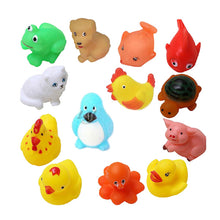 Rubber Mixed Animals Soft Squeaky Baby Bath Toys (13Pcs) - Baby Reveal Party