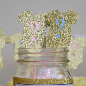 Sparkly Onesie Cupcake Topper (12/24/36/60 pcs) - Baby Reveal Party