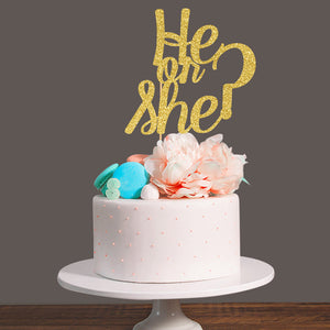 """He or She?"" Sparkly Gold Cake Topper - Baby Reveal Party"