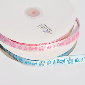 It's a boy or girl Satin Ribbon Blue or Pink Decorative (10 Yards) - Baby Reveal Party