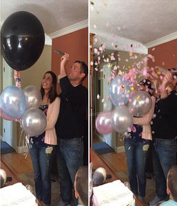 "36"" Black/Clear/White Confetti Balloon (Pink & Gold Confetti) - Baby Reveal Party"