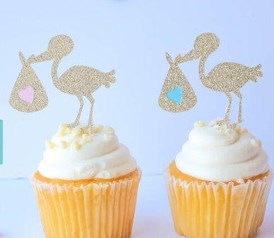 Stork Cupcake Toppers for Baby Gender Reveal - Baby Reveal Party
