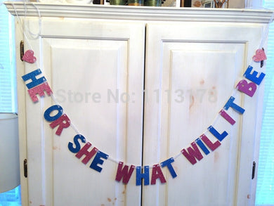 He or She, What Will It Be Banner - Baby Reveal Party