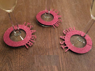 It's A Girl Pink Glitter Gender Reveal Wine Charms - Baby Reveal Party