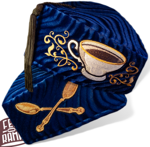 Blue Tea Cup and Cross Spoons Chapeau