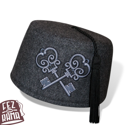 Tweed Crossed Keys Fez