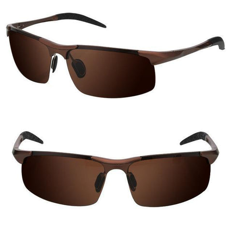 Men's Polarized UV400 Sport Sunglasses - Brown, Sunglasses - Men - UREGALO