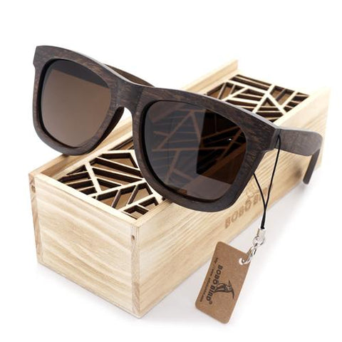 Natural Wood Frame Polarized Lens Sunglasses - Unisex, Sunglasses - Unisex - UREGALO